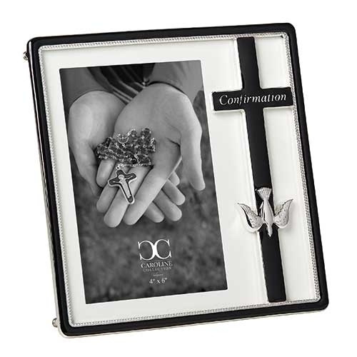 "Cross Engraved Confirmation Frame | Holds 4"" x 6"" Picture"