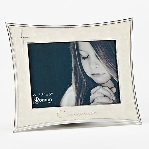 "White Enamel Communion Frame | Holds 3.5"" x 5"" Picture"