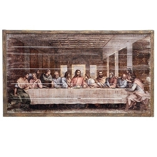 """38"""" Rustic Last Supper Wood Panel with Leafing"""