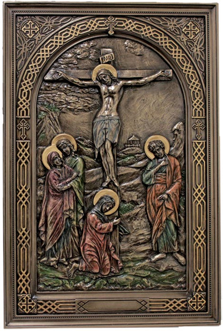 """6"""" x 9"""" Crucifixion Plaque   Lightly Hand-Painted Cold Cast Bronze"""