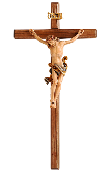 "25"" Leonardo Crucifix on Dark Cross, Blue Garment 