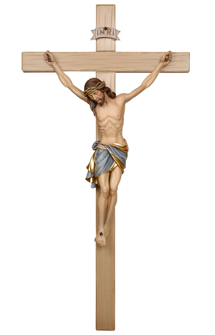 "25"" Sienna Style Crucifix on Light Cross, Blue Garment 