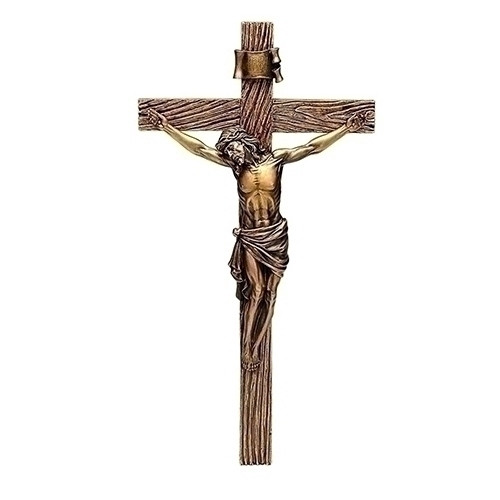 "13"" Antique Gold Wall Crucifix"