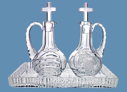 #572 Crystal Cross Top Cruet Set - 4oz, 6.5""