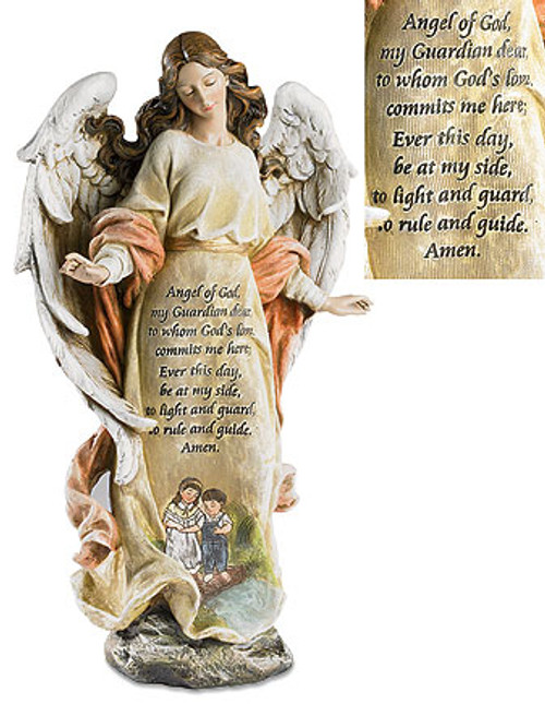 "13"" Figures Of Faith - Guardian Angel With Children 