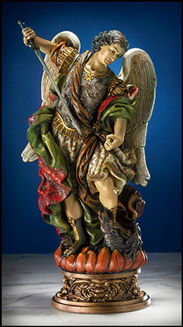 "10"" Ornate St. Michael Statue 