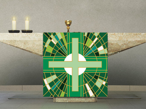 #7507 Green Cross Altar Cover