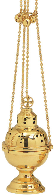 K501 Eastern Rite Censer and Boat | Thurible | 24K Gold Plated