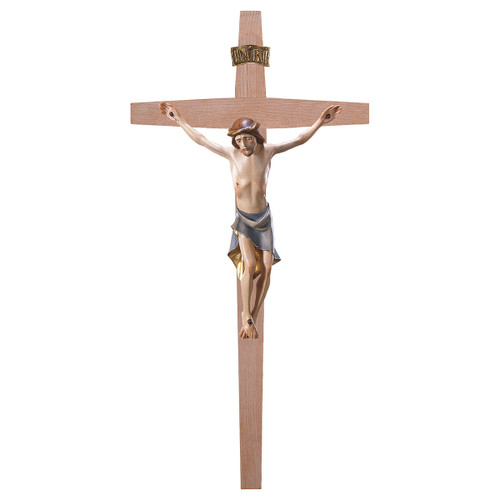 Full Color Modern Straight Crucifix | Hand Carved in Italy | Multiple Sizes