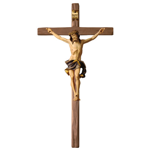 Full Color Nazarean Straight Crucifix | Hand Carved in Italy | Multiple Sizes