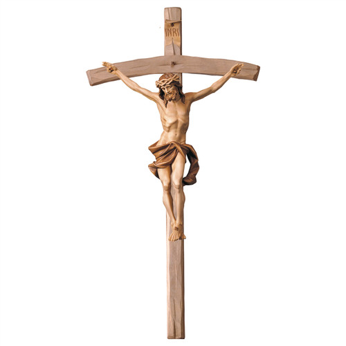 Stained Nazarean Bent Crucifix | Hand Carved in Italy | Multiple Sizes