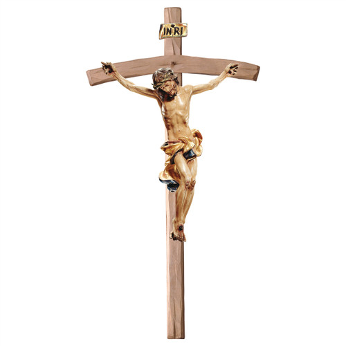 Gold Leaf Antique Baroque Bent Crucifix | Hand Carved in Italy | Multiple Sizes