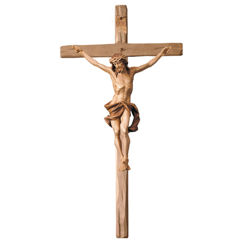 Stained Nazarean Straight Crucifix | Hand Carved in Italy | Multiple Sizes