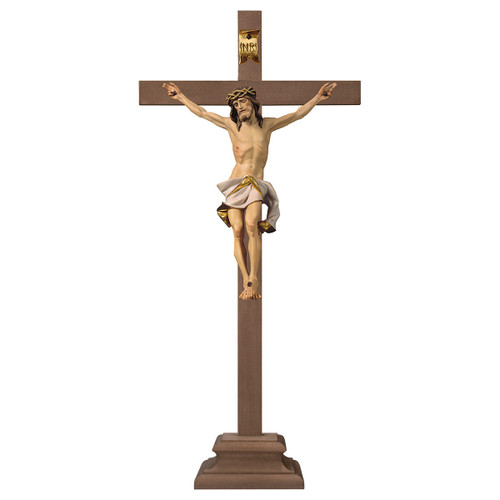Full Color Standing Nazarean Crucifix on Pedestal | Hand Carved in Italy | Multiple Sizes