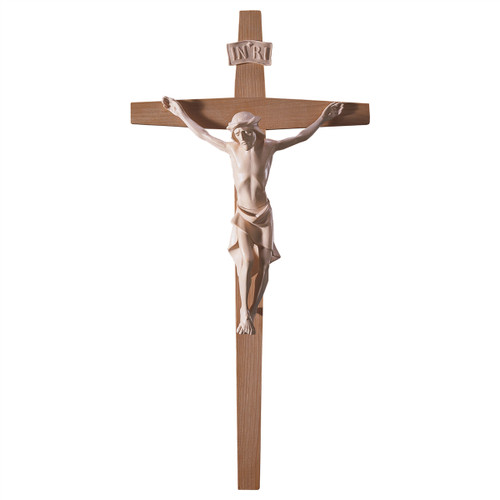 Natural Modern Straight Crucifix | Hand Carved in Italy | Multiple Sizes