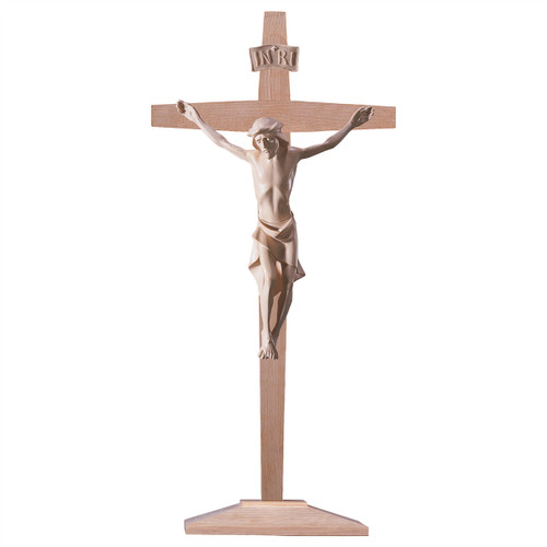 Natural Modern Standing Crucifix on Pedestal | Hand Carved in Italy | Multiple Sizes