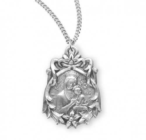 "Our Lady of Perpetual Help Sterling Silver Medal | 18"" Chain"