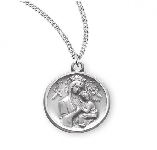 "Our Lady of Perpetual Help Round Sterling Silver Medal | 18"" Chain"