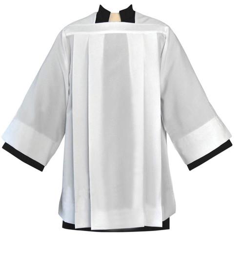 #4886 Plain Pleated Surplice | Textured Polyester, Linen Weave