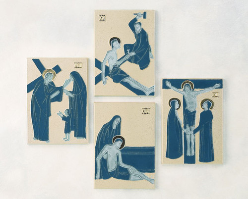 """#5425 Stations Of The Cross   9.25"""" x 5.5""""   Glazed Clay   Hand Crafted In Belgium"""