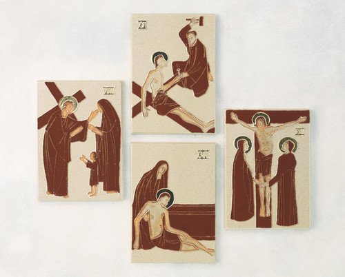 """#5429 Stations Of The Cross   9.25"""" x 5.5""""   Glazed Clay   Hand Crafted In Belgium"""