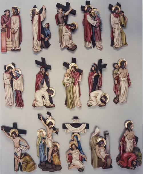 """#5415 Stations Of The Cross   11""""-16""""   Colored Polychrome Resin   Made In Belgium"""