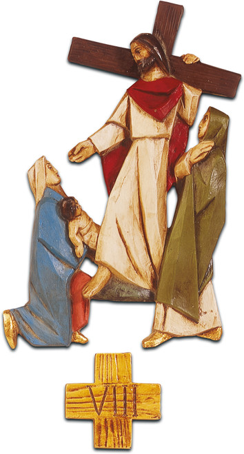 """#5420 Full Stations Of The Cross   9""""-14""""   Colored Polychrome Resin   Made In Belgium"""