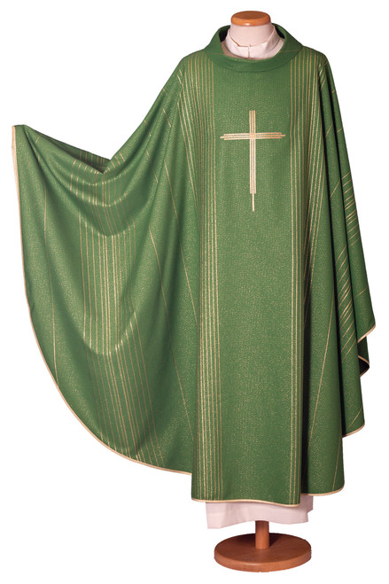 #2014 Italian Gold Thread Embroidered Cross Chasuble | Roll Collar | Poly/Viscose | All Colors