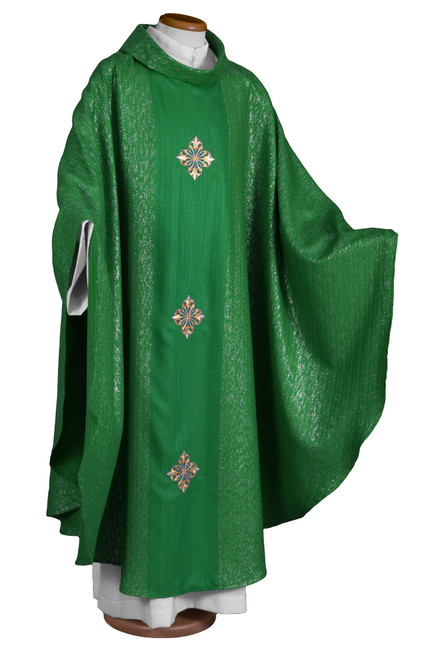 #2017 Three Cross Embroidered Chasuble | Roll Collar | Wool/Lurex | All Colors