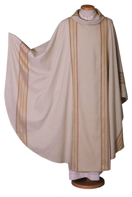 #9030 Ivory Italian Embroidered Chasuble | Roll Collar | Wool/Lurex