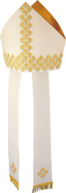 #429 Gold Square Embroidered Mitre | 100% Wool | All Colors