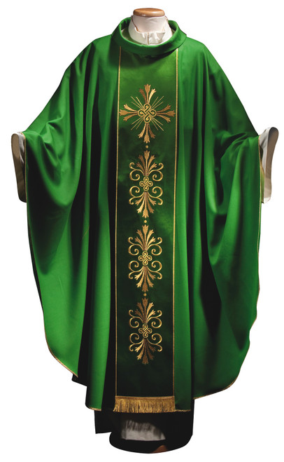 #4615S Italian Gold Cross Embroidered Chasuble with Scapular | Roll Collar | 100% Wool | All Colors