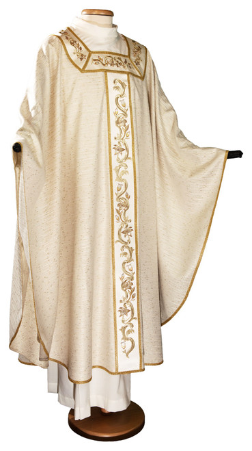 #6489 Italian Gold Embroidered Chasuble   Roll Collar   Wool/Lurex/Viscose   All Colors