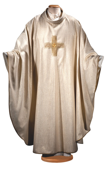 #0996 Italian Gold Contemporary Cross Embroidered Chasuble   Roll Collar   Wool/Lurex/Viscose   All Colors