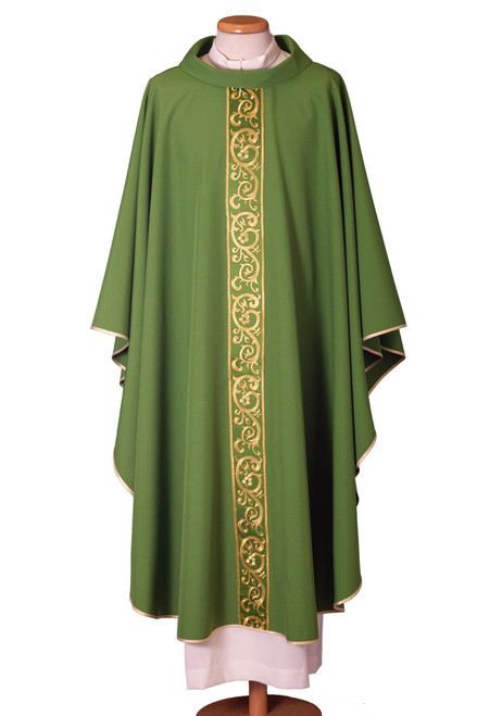 #6418 Italian Embroidered Chasuble | Roll Collar | 100% Polyester | All Colors