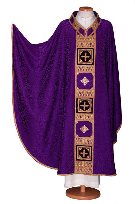 #4829 Ornate Crystal Inlay Italian Embroidered Chasuble | Plain V Collar | Acetate/Viscose | All Colors