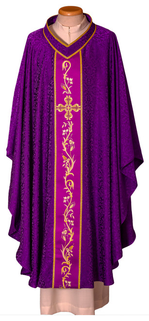 #7954 Ornate Italian Embroidered Chasuble | Plain V Collar | Acetate/Viscose | All Colors