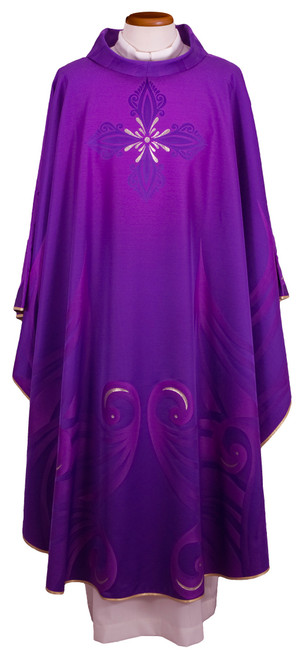 #0561 Italian Contemporary Silk Chasuble | Roll Collar | Wool/Silk | All Colors