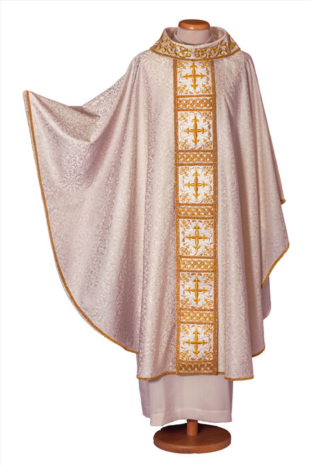 #7851 Ornate Gold Embroidery Italian Chasuble   Roll Collar   Acetate/Viscose   All Colors
