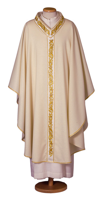 #7544 Embroidered Neckline Italian Chasuble with Scapular | Plain V Collar | Wool/Lurex | All Colors