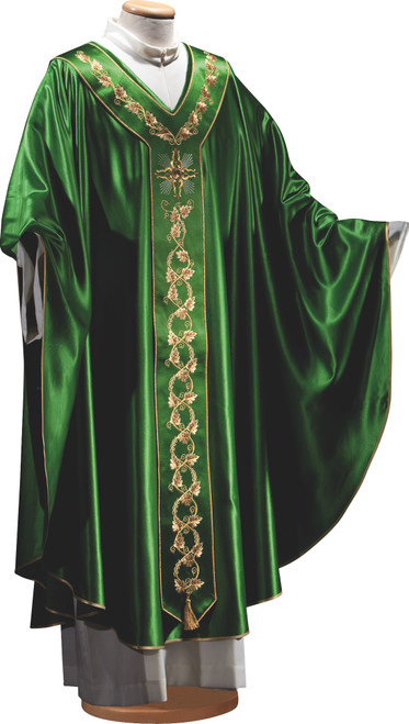 #1339 Italian Embroidered Silk Chasuble with Scapular | Plain V Collar | Wool/Silk | All Colors