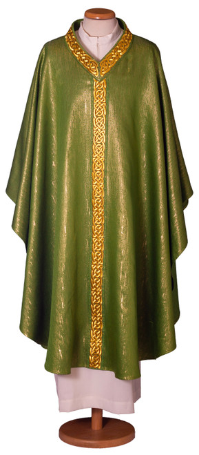 #7681 Embroidered Braid Italian Chasuble with Scapular  | Plain V Collar | Wool/Lurex | All Colors