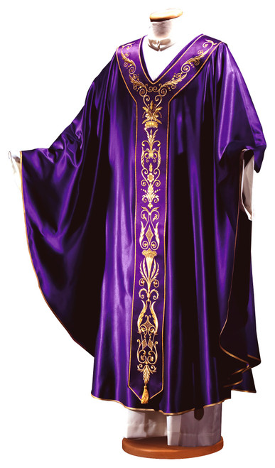 #1320 Italian Embroidered Silk Chasuble with Scapular | Plain V Collar | Wool/Silk | All Colors