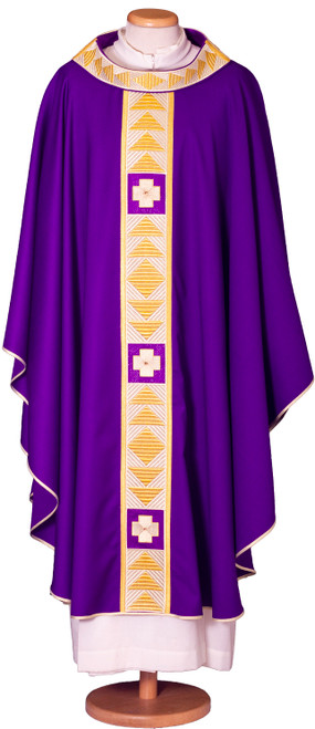 #7666 Italian Embroidered Chasuble with Scapular | Roll Collar | 100% Wool | All Colors