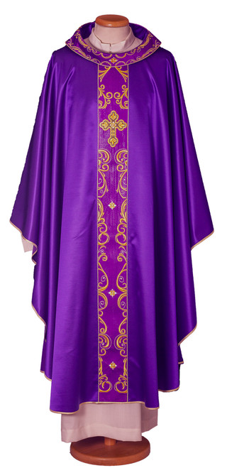 #7663 Gold Embroidered Cross Chasuble with Scapular | Roll Collar | Wool/Silk | All Colors