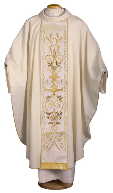 #6186 Gold Embroidery Chasuble with Scapular & Tassels | Roll Collar | 100% Wool | All Colors