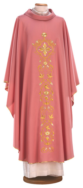 #3056 Gold Embroidered Chasuble | Roll Collar | 100% Wool | All Colors