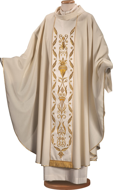 #4910 Gold Embroidered Chasuble with Scapular | Roll Collar | 100% Wool | All Colors