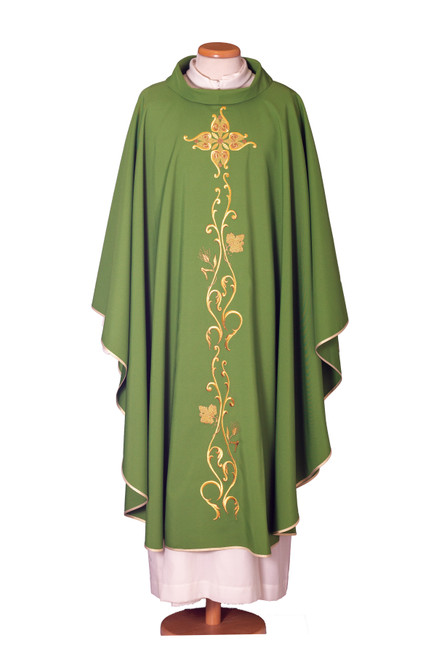 #6518 Gold Embroidered Chasuble | Roll Collar | 100% Wool | All Colors