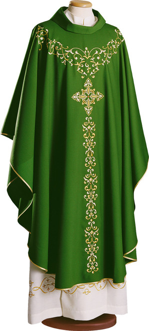 #3258 Gold Embroidered Chasuble | Roll Collar | 100% Wool | All Colors